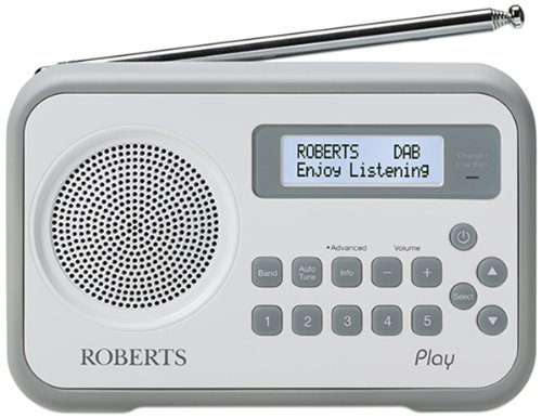 Roberts PLAY WHITE DAB/DAB+/FM Radio Built in Battery Charger