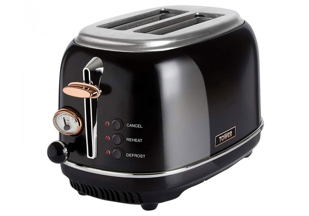 Tower T20016 2 Slice Toaster - Black/Rose Gold