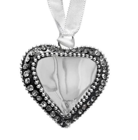 Culinary Concepts 4 Small Silver Heart + Crystal Decoration XD-H7229SML
