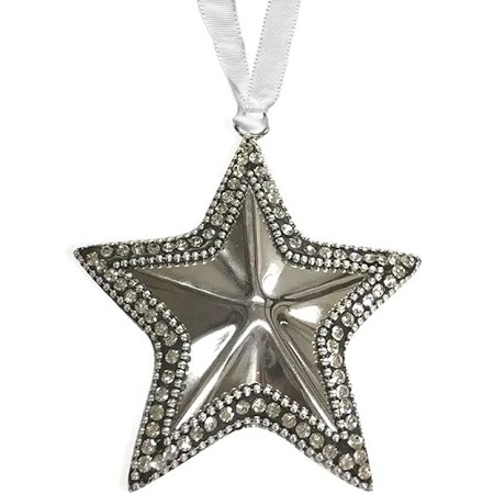 Culinary Concepts Pack of 4 Small Silver Star with Crystal Decoration
