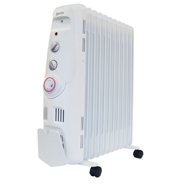 Igenix IG2655 2.5kW Oil Filled Radiator with 24H Timer White