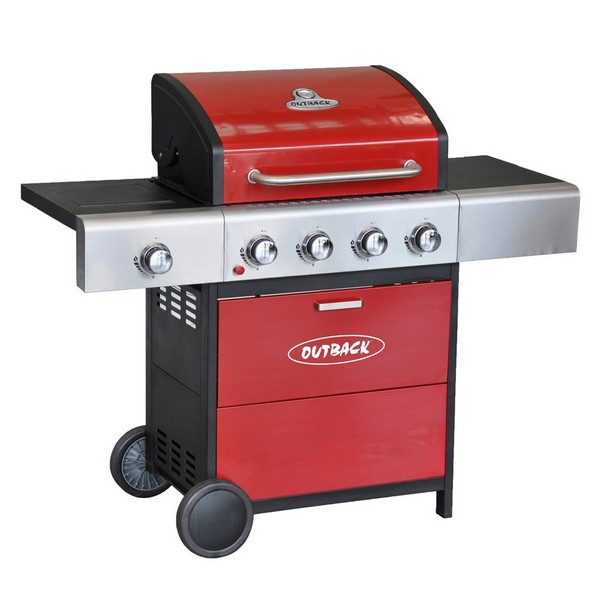 Outback Meteor 4 Burner Gas Hooded BBQ Red 370698