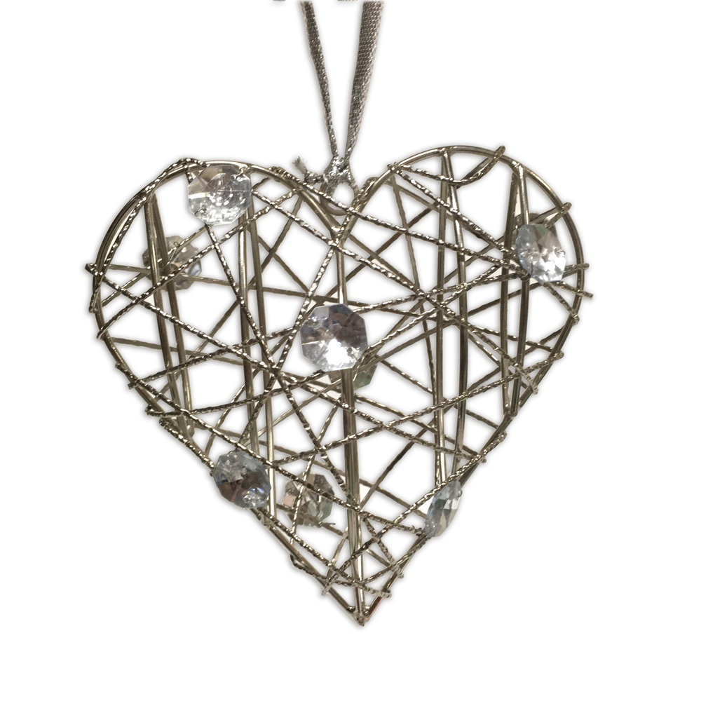 Culinary Concepts Christmas Decoration Hanging Silver Wire Heart