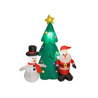 Adventa Adventa 6 foot Santa with Snowman and tree D35149J