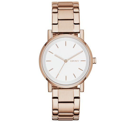 DKNY NY2344 Women's SoHo Bracelet Strap Watch, Rose Gold/White