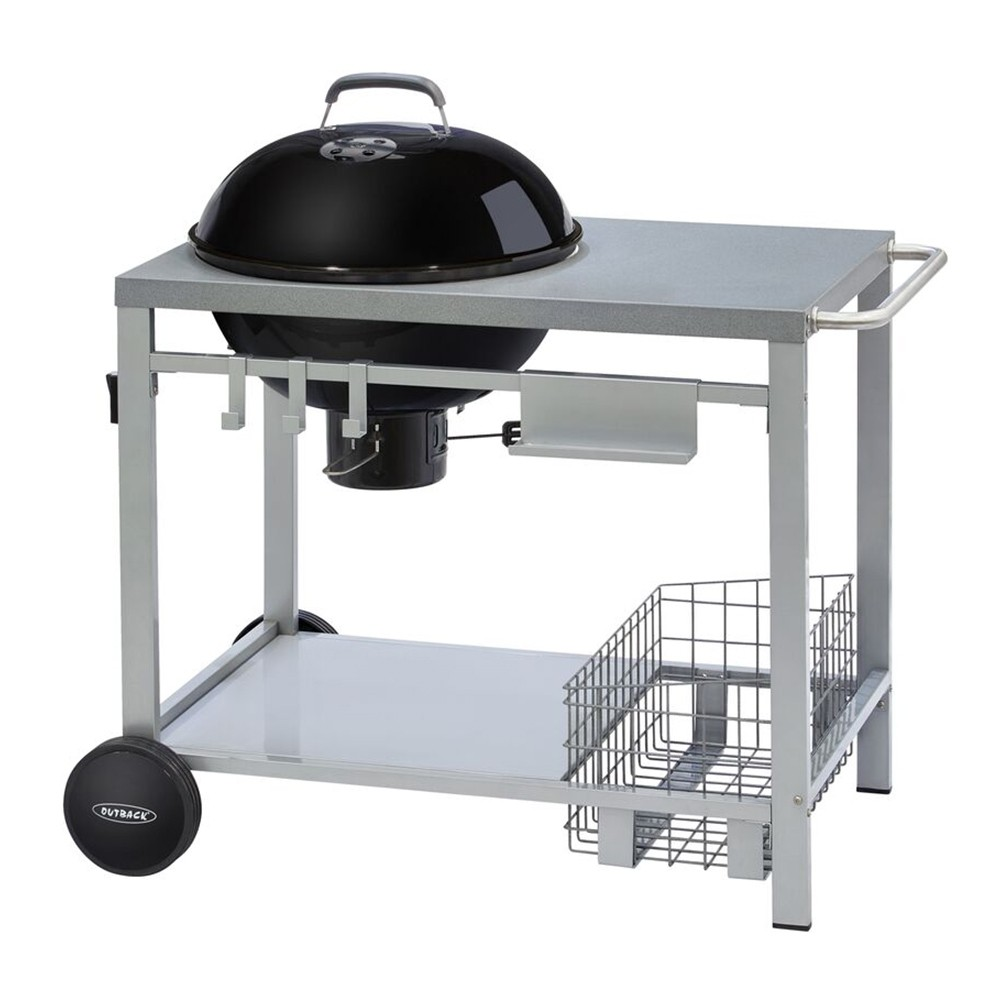 Outback Charcoal Kettle Trolley BBQ Grill - Black 370713