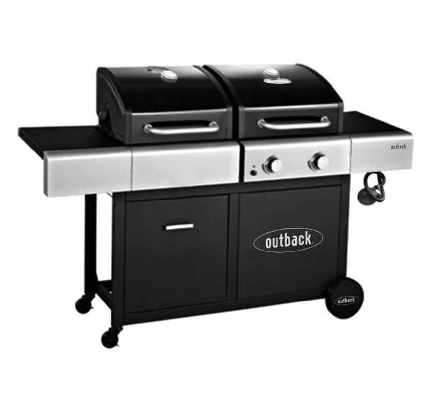 OUTBACK 2 Burner Dual Fuel Hooded Gas and Charcoal BBQ 370968
