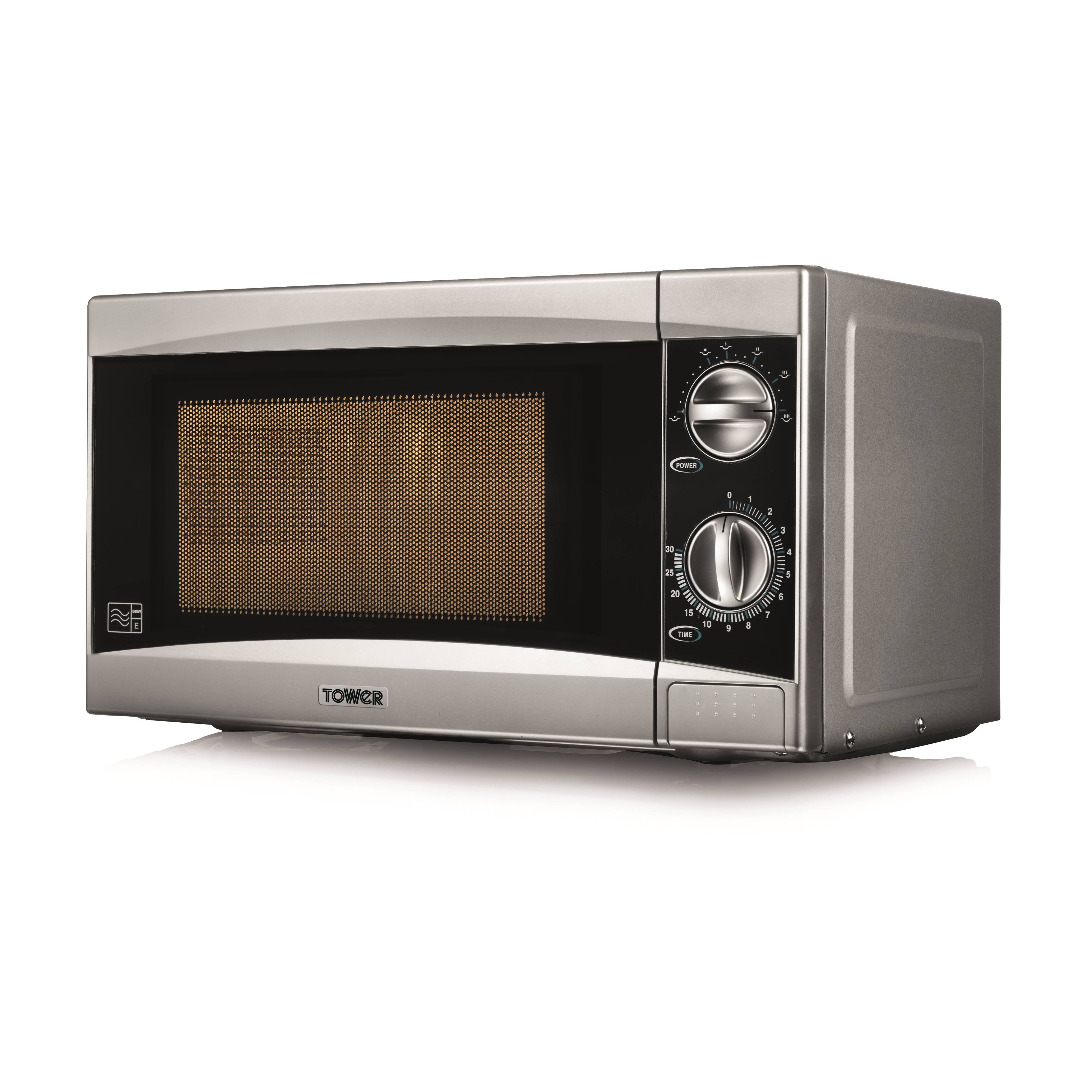 Tower T24001 Microwave, 800 W, 20 L - Silver Stainless Steel