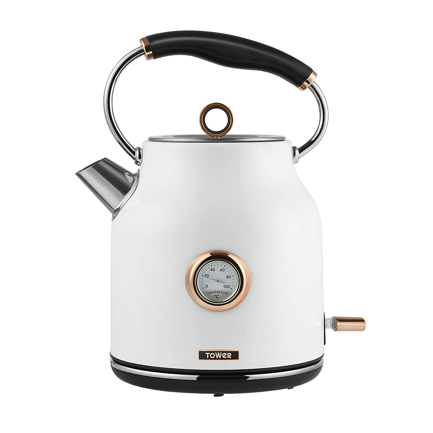 Tower T10020w White & Rose Gold 1.7L Traditional Kettle