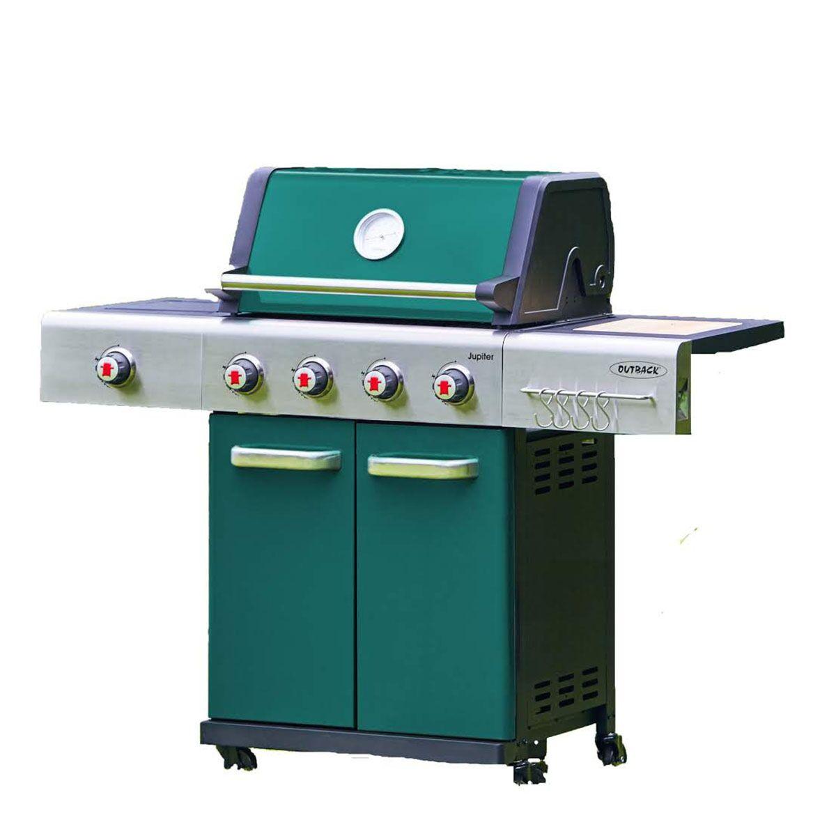 Outback Jupiter 4 Burner Gas Hooded BBQ Green 370765