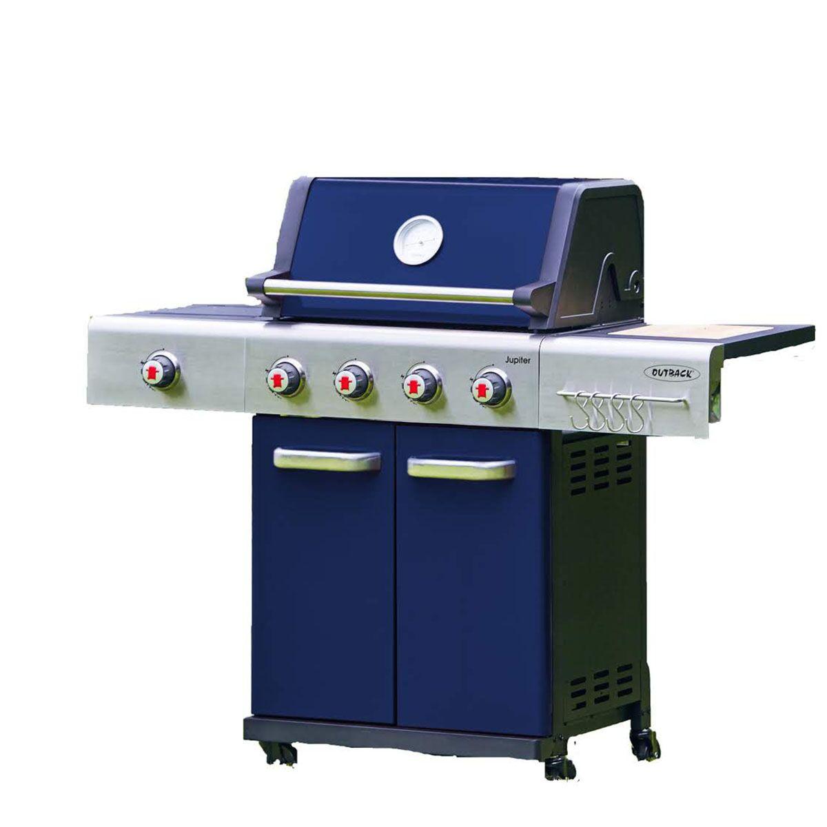 Outback Jupiter 4 Burner Gas Hooded BBQ Blue 370766