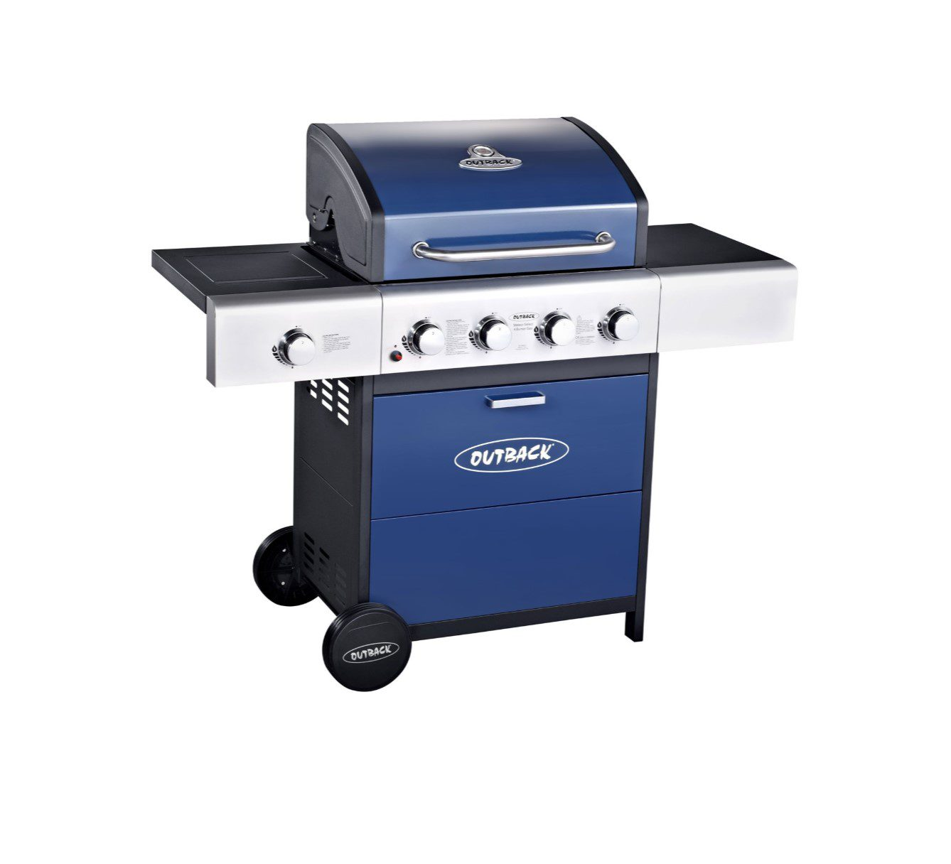 Outback Meteor 4 Burner Gas Hooded BBQ Blue 370699 2019 Model